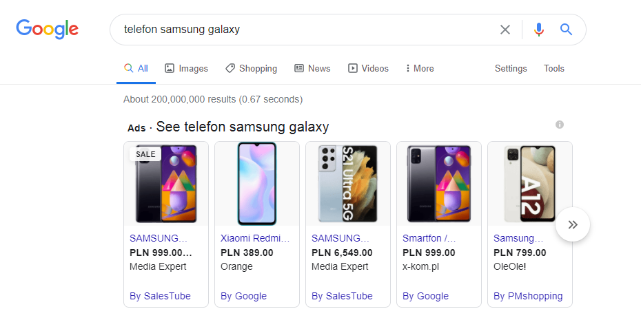 Rodzaje kampanii Google Ads - kampanie PLA (Product Listing Ads)